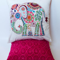 "Bright Pink Elephant Pillow- 12""x12"" Decorative Throw Pillow Cover with elephant appliqué, pink Moroccan batik backing"