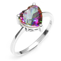 Sterling Silver and Genuine Rainbow Mystic Topaz Heart Ring