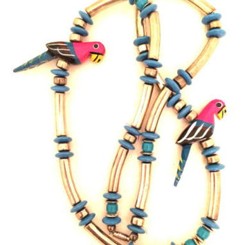 Parakeet Parrot Wood Carved Birds Necklace Silver Blue Ethnic Handmade Jewelry