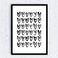 hearts Typographic Print- drawing art print wall decor Typography family decor heart  framed quotes bedroom poster love tumblr room decor