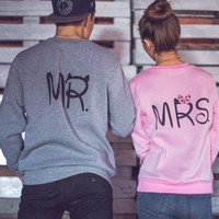 Womens Mens MR & MRS Sweater Lover Top Gift-50