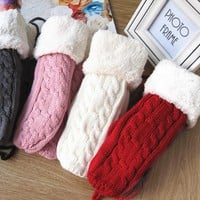 Women Winter Dpuble Layer Thick Cashmere Wool Adult Warm Knit Twist Full Finger Gloves Soft Lady Fur Mittens With Long Rope Hot