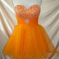 Pretty Lovely Custom made cheap orange sweetheart Crystal knee length short Prom/Evening/Party/Bridesmaid/Cocktail/Homecoming Dress Gown