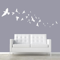 Wall Decal Vinyl Sticker Decals Art Decor Design Set Birds Frying Gulls Pigeons Animals Wings Bedroom Dorm Modern Style(r366)