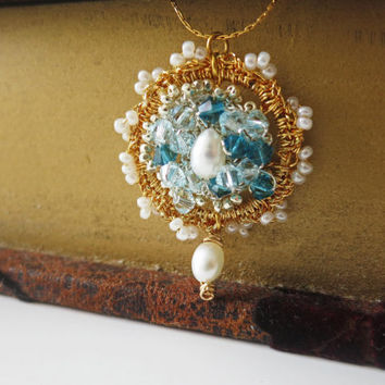 Silver Crochet Gold Crochet Lace PendantWedding by sukran on Etsy