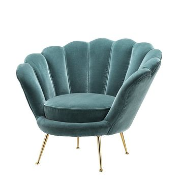 Blue Scalloped Chair | Eichholtz Trapezium B
