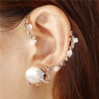 CIShop OKA Cute Elephant Opal Earcuff Earrings Punk Syle Ear Wrap(Left Ear)