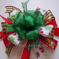 Whimsical Red Green Christmas Bow Peppermint Christmas Lantern Bow Simply Adornments  Bow Red Green Christmas Wreath Bow Peppermint Gift Bow