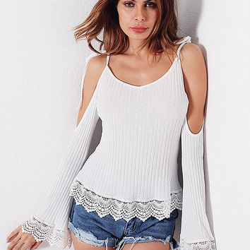 White Tie Strap Cold Shoulder Lace Panel Flare Sleeve Rib Top