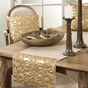Aura Beaded Applique Table Runner | 72-Inch