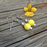 Small Yellow, White, and Silver Earrings