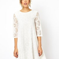 ASOS Swing Dress In Lace With Half Sleeve -
