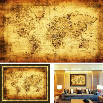 Large Vintage World Map Home Decoration Detailed Antique Poster Retro Cloth Poster Globe Old World Nautical Map Gifts