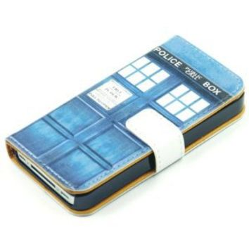 Doctor Who Tardis Blue Police Call Box Pattern Slim Wallet Card Flip Stand Leather Pouch Case Cover For Apple iphone 4 4S