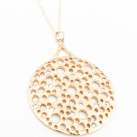 Gold Filigree CZ Pendant Necklace Matte Layering Free USA Shipping