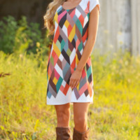 Multi Geometric Print Short-Sleeve Dress