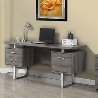 "Dark Taupe Reclaimed-Look / Silver Metal 60""L Office Desk"