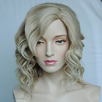 Curly Blonde Wig for Women Kanekalon Medium Natural Wigs+ Free Wig Cap