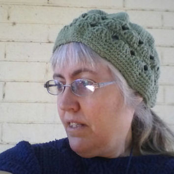 Sage Green Cotton Crochet Cloche with Broomstick Lace