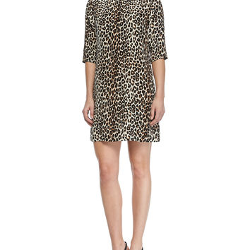 Aubrey Silk Animal-Print Dress, Size: