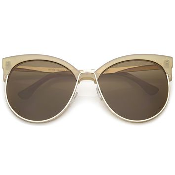 Women's Oversize Flat Lens Half Frame Cat Eye Sunglasses C327