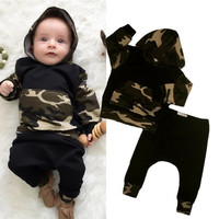 Newborn Baby Boys Clothes Set Army Green Tops Toddler Hooded Tops Warm Long Pants Outfits Set Clothing Bay Boy Girl