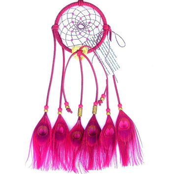 Hot Pink Dream Catcher Peacock Eyes Feathers by ArizonaDreams