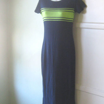 Sporty, Long Navy Blue Sweater Dress; Charteuse Green Stripe - Vintage 1980s Rugby/Sporty/Stones/Sonic Youth Sweater Dress - Navy Maxi Dress