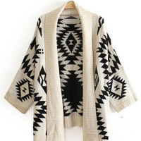 Diamond Geometric Pattern Print Scarf Collar Bat Sleeve Knit Cardigan