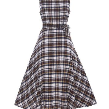 Streetstyle  Casual 2 Color Round Neck Bowknot Plaid Skater-dress