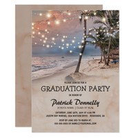 Tropical Vintage Beach Lights Graduation Party Card