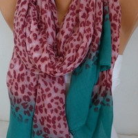 ON SALE - Leopard Scarf Shawl Cotton Scarf Cowl Sacrf Gift for Her