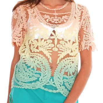 Day Dreaming Lace Top - Pink/Yellow