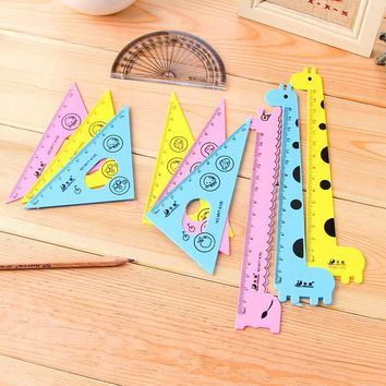 New Arrival ! Kawaii Ruler Set School Supplies Animal Cute School Tools Stationary Creative Cartoon Students Shape
