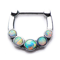 316L Septum Nose Ring Clicker 16g 5pcs White opal gem--FREE Gift Box w 75