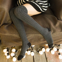 High  Winter Knitted Over Knee Long Boot Thigh-High Cotton Warm
