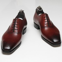 Handmade Mens Formal Leather Shoes, Men Maroon Dress Leather Shoes, Men shoes
