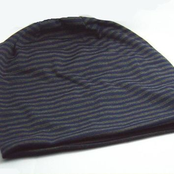 Unisex Cotton Beanies Soft Stretch Slouchy Sleep Cap Fashion Stripe Cap Baotou Cap