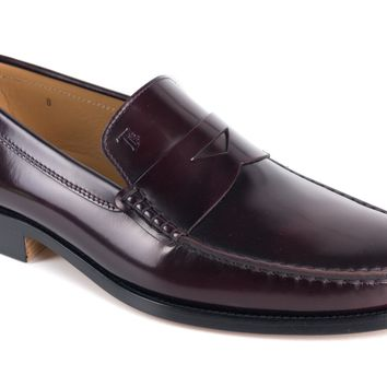 Tod's Burgundy New Devon Polished Leather Penny Loafer