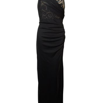 Onyx Nite Women's Sequined Satin Trim Draped Chiffon Dress