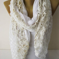 White scarf-Fashion Scarf- gift Ideas For Her Women's Scarves-christmas gift- for her -Fashion accessories-Shawls