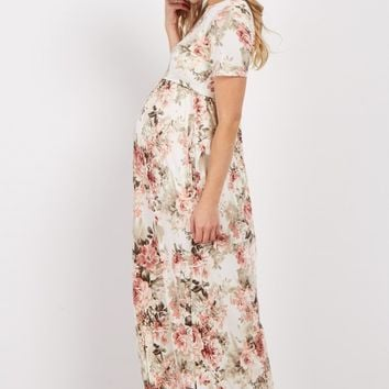 Ivory Floral Short Sleeve Maternity Maxi Dress