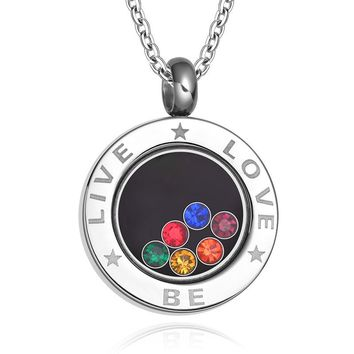 """Live Be Love Jewelry LGBT Pride Necklace Rainbow Rhinestones Bisexual Marriage Gay Pride Jewelry Stainless Steel Chain 23.6"""""""