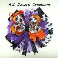 Halloween Trick or Treat and Spider Boutique Stacked Hair Bow Handmade