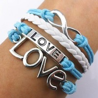Handmade Infinity Bracelet Love Sky Blue Rope White Leather Weave Vintage Silver:Amazon:Beauty