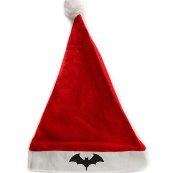 Vampire Bat Holiday Christmas Hat Santa Cap Red/White Felt w/ Pom Pom Merry Gothmas