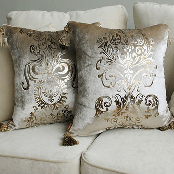 Luxurious Golden Print Velvet Home Decor Cushion with Tassle Velour Decoration Pillow /sofa cushions decorative Throw Pillow