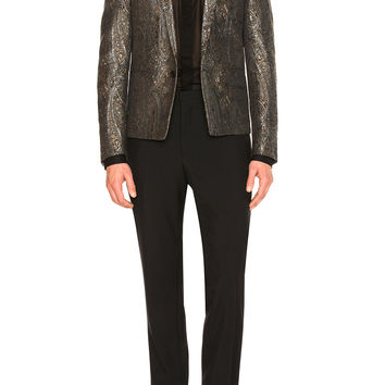 Saint Laurent Tapestry Jacquard Jacket in Fauve & Argent | FWRD
