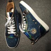 Cl Christian Louboutin Rythinestone Style #1928 Sneakers Fashion Shoes