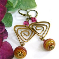 Lampwork Bead Dangle Earrings Brass With Fuchsia Crystals, Handmade